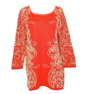 Ruby Rd M 3/4 Sleeve Pullover Sweater Red Holiday